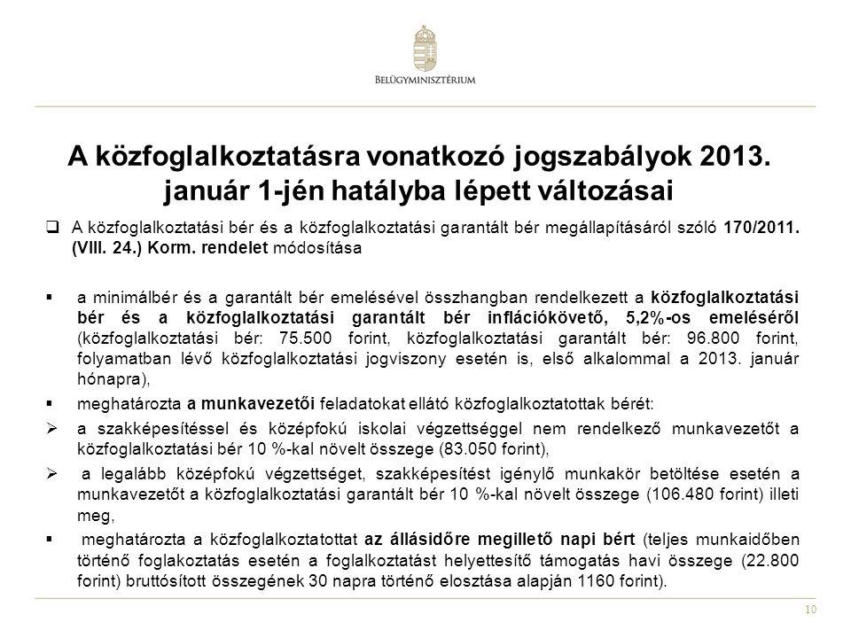 10 A közfoglalkoztatásra vonatkozó jogszabályok 2013.