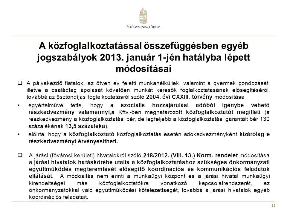 11 A közfoglalkoztatással összefüggésben egyéb jogszabályok 2013.