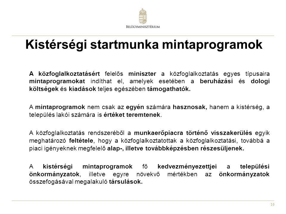 16 Kistérségi startmunka mintaprogramok A közfoglalkoztatásért felelős miniszter a közfoglalkoztatás egyes típusaira mintaprogramokat indíthat el, amelyek esetében a beruházási és dologi költségek és kiadások teljes egészében támogathatók.
