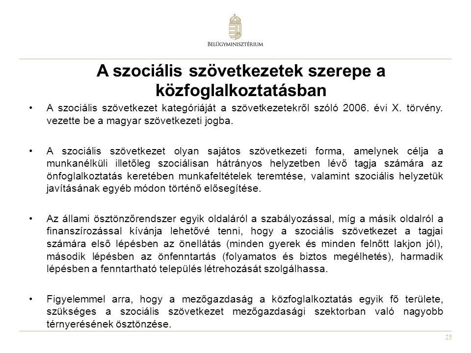 25 A szociális szövetkezetek szerepe a közfoglalkoztatásban •A szociális szövetkezet kategóriáját a szövetkezetekről szóló 2006.