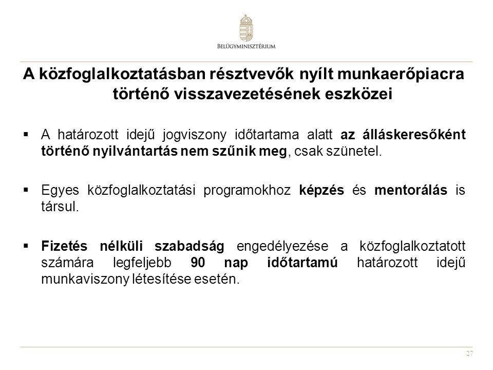 27 A közfoglalkoztatásban résztvevők nyílt munkaerőpiacra történő visszavezetésének eszközei  A határozott idejű jogviszony időtartama alatt az álláskeresőként történő nyilvántartás nem szűnik meg, csak szünetel.