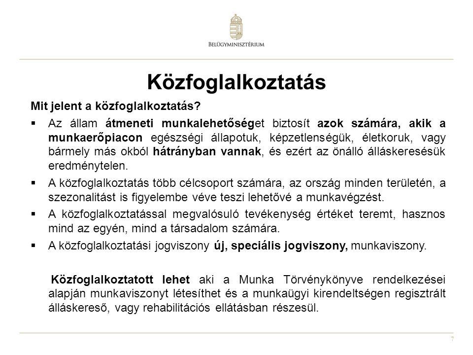 7 Közfoglalkoztatás Mit jelent a közfoglalkoztatás.