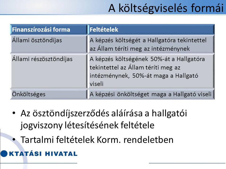 A költségviselés formái • Az ösztöndíjszerződés aláírása a hallgatói jogviszony létesítésének feltétele • Tartalmi feltételek Korm.
