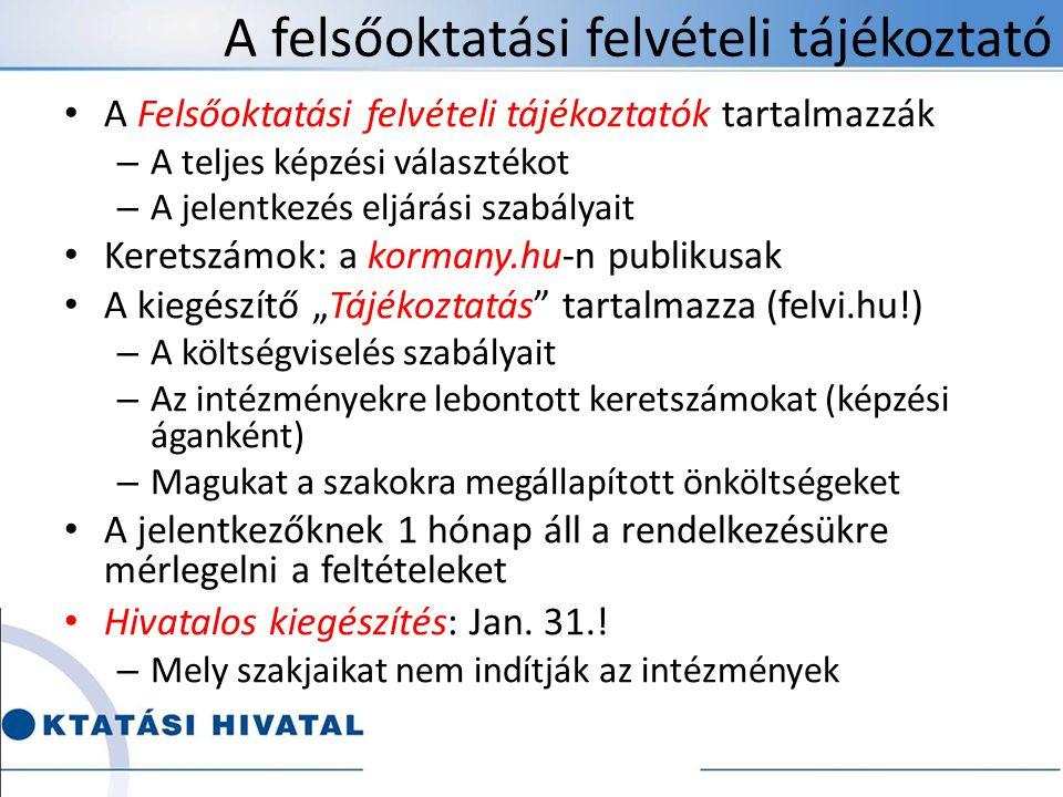 """A felsőoktatási felvételi tájékoztató • A Felsőoktatási felvételi tájékoztatók tartalmazzák – A teljes képzési választékot – A jelentkezés eljárási szabályait • Keretszámok: a kormany.hu-n publikusak • A kiegészítő """"Tájékoztatás tartalmazza (felvi.hu!) – A költségviselés szabályait – Az intézményekre lebontott keretszámokat (képzési áganként) – Magukat a szakokra megállapított önköltségeket • A jelentkezőknek 1 hónap áll a rendelkezésükre mérlegelni a feltételeket • Hivatalos kiegészítés: Jan."""