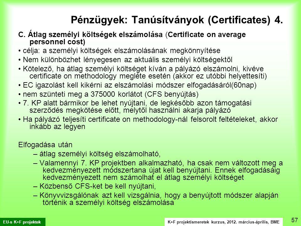 K+F projektismeretek kurzus, 2012. március-április, BME EU-s K+F projektek 57 C.