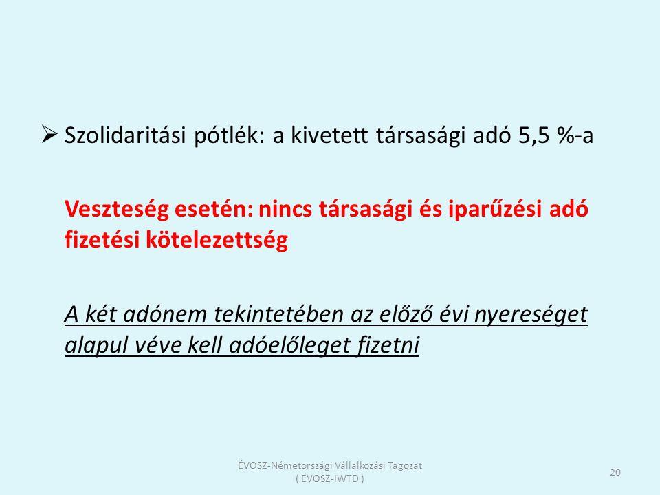  Szolidaritási pótlék: a kivetett társasági adó 5,5 %-a Veszteség esetén: nincs társasági és iparűzési adó fizetési kötelezettség A két adónem tekint