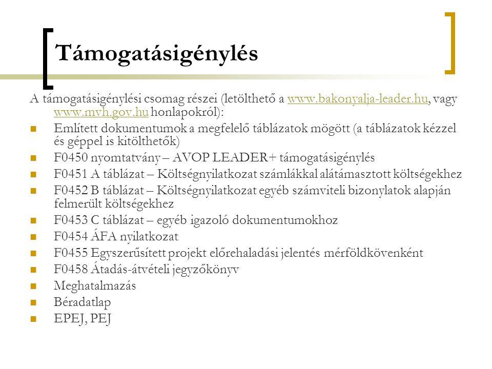 Támogatásigénylés A támogatásigénylési csomag részei (letölthető a www.bakonyalja-leader.hu, vagy www.mvh.gov.hu honlapokról):www.bakonyalja-leader.hu