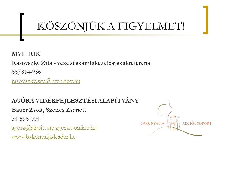 KÖSZÖNJÜK A FIGYELMET! MVH RIK Rasovszky Zita - vezető számlakezelési szakreferens 88/814-956 rasovszky.zita@mvh.gov.hu AGÓRA VIDÉKFEJLESZTÉSI ALAPÍTV