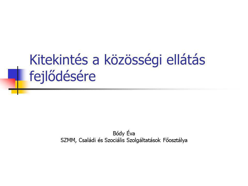 Kitekintés a közösségi ellátás fejlődésére Bódy Éva SZMM, Családi és Szociális Szolgáltatások Főosztálya