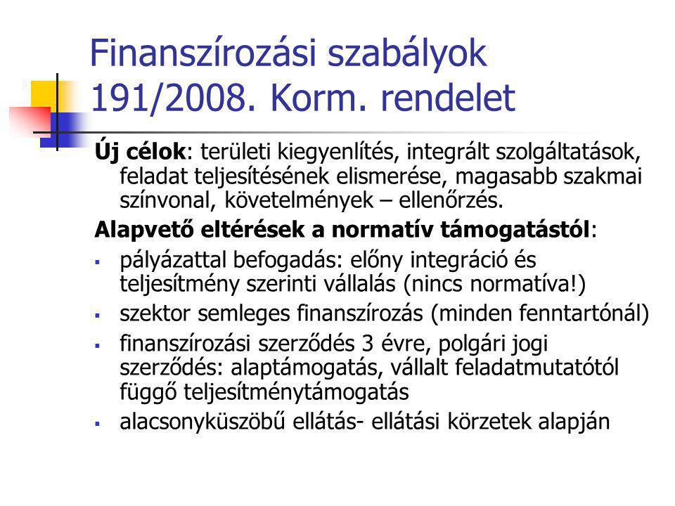 Finanszírozási szabályok 191/2008. Korm. rendelet Új célok: területi kiegyenlítés, integrált szolgáltatások, feladat teljesítésének elismerése, magasa