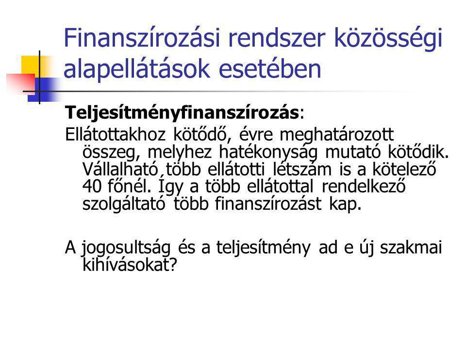 Finanszírozási rendszer közösségi alapellátások esetében Teljesítményfinanszírozás: Ellátottakhoz kötődő, évre meghatározott összeg, melyhez hatékonys