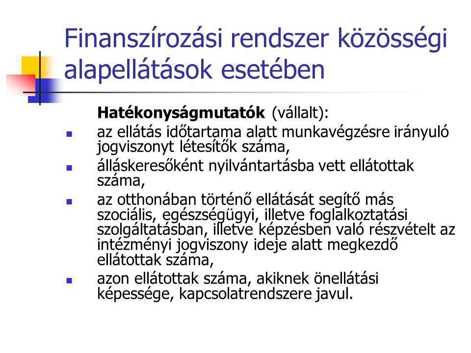 Finanszírozási rendszer közösségi alapellátások esetében Hatékonyságmutatók (vállalt):  az ellátás időtartama alatt munkavégzésre irányuló jogviszony