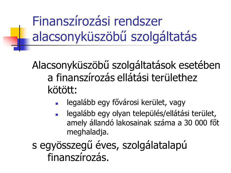 Finanszírozási rendszer alacsonyküszöbű szolgáltatás A finanszírozás hatékonyságmutatóhoz kötött:  a szolgáltatással elért személyek száma.