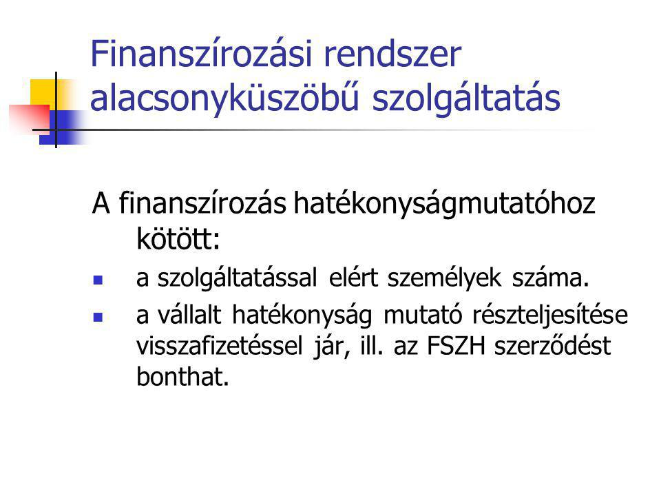 Finanszírozási rendszer alacsonyküszöbű szolgáltatás A finanszírozás hatékonyságmutatóhoz kötött:  a szolgáltatással elért személyek száma.  a válla
