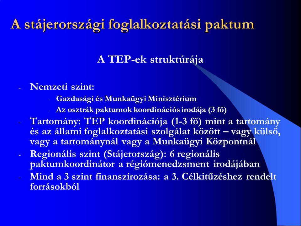 A stájerországi foglalkoztatási paktum A TEP-ek struktúrája - Nemzeti szint: - Gazdasági és Munkaügyi Minisztérium - Az osztrák paktumok koordinációs