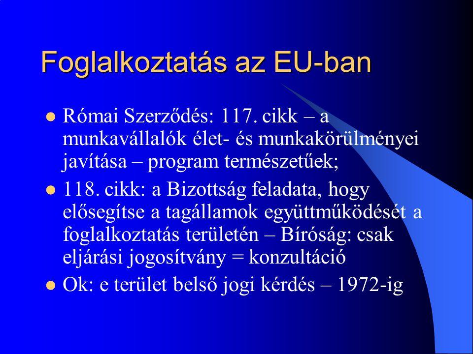 Foglalkoztatás az EU-ban  Római Szerződés: 117. cikk – a munkavállalók élet- és munkakörülményei javítása – program természetűek;  118. cikk: a Bizo