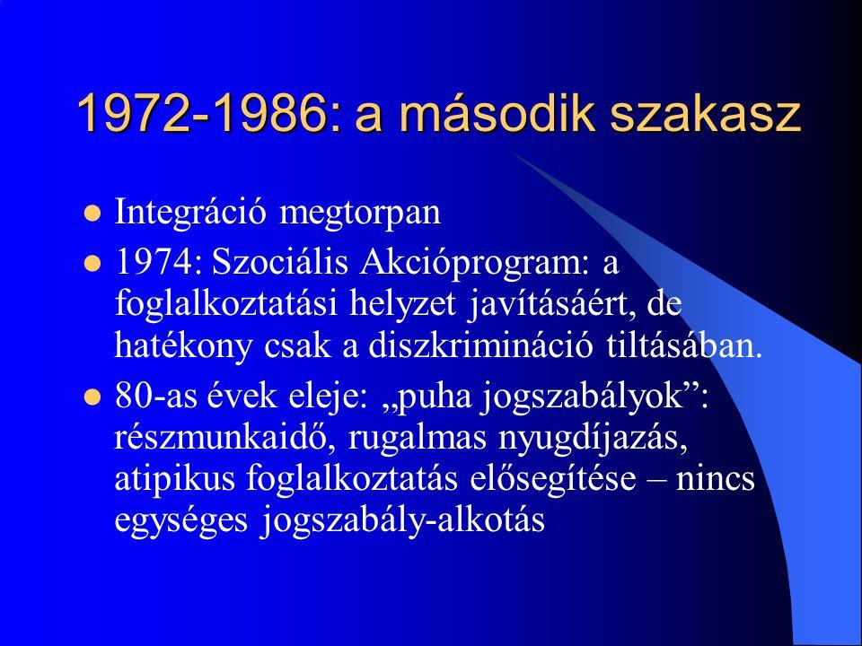1972-1986: a második szakasz  Integráció megtorpan  1974: Szociális Akcióprogram: a foglalkoztatási helyzet javításáért, de hatékony csak a diszkrim