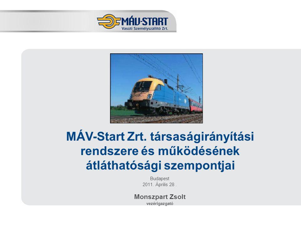 Előadó: Kozák Tamás Budapest 2011.Április 28. Monszpart Zsolt vezérigazgató MÁV-Start Zrt.