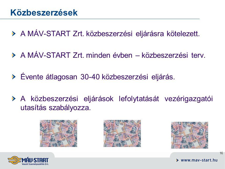 16 Közbeszerzések A MÁV-START Zrt.közbeszerzési eljárásra kötelezett.