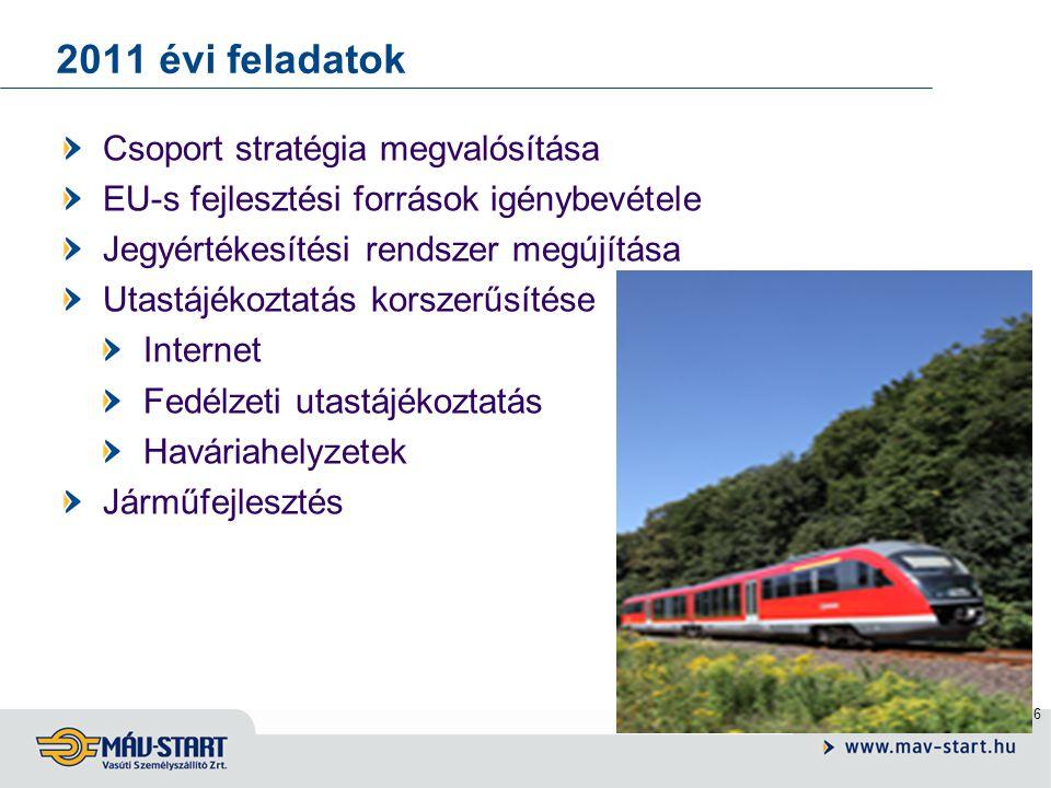 6 2011 évi feladatok Csoport stratégia megvalósítása EU-s fejlesztési források igénybevétele Jegyértékesítési rendszer megújítása Utastájékoztatás korszerűsítése Internet Fedélzeti utastájékoztatás Haváriahelyzetek Járműfejlesztés