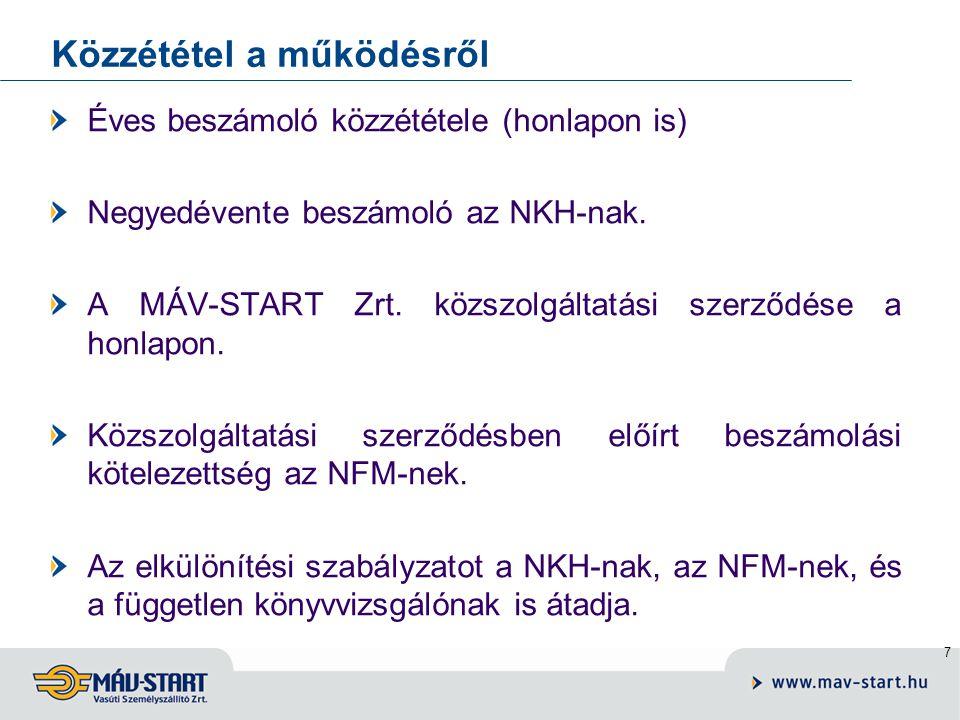 7 Közzététel a működésről Éves beszámoló közzététele (honlapon is) Negyedévente beszámoló az NKH-nak.