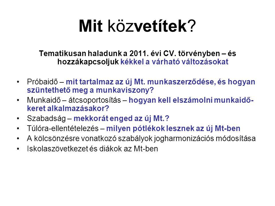 Mit közvetítek? Tematikusan haladunk a 2011. évi CV. törvényben – és hozzákapcsoljuk kékkel a várható változásokat •Próbaidő – mit tartalmaz az új Mt.