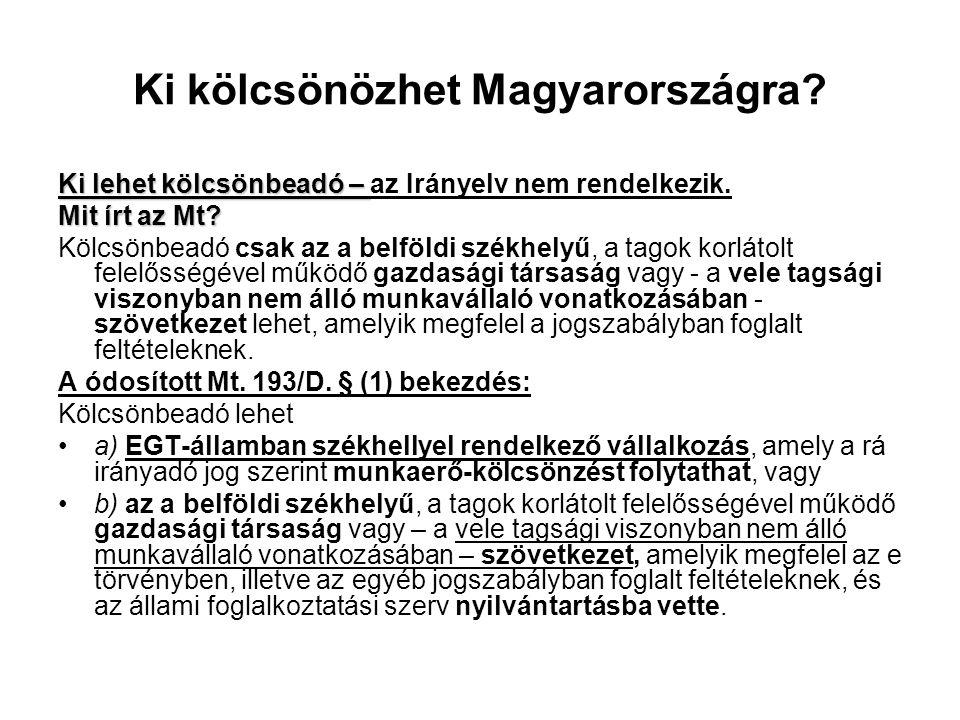 Ki kölcsönözhet Magyarországra? Ki lehet kölcsönbeadó – Ki lehet kölcsönbeadó – az Irányelv nem rendelkezik. Mit írt az Mt? Kölcsönbeadó csak az a bel