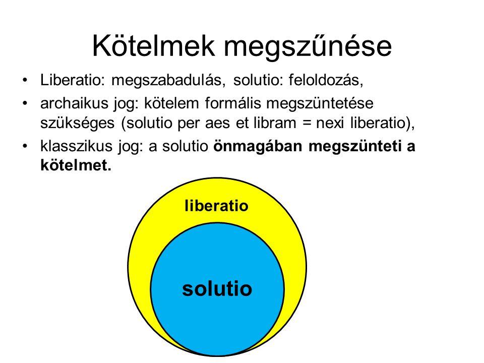 Kötelmek megszűnése •Liberatio: megszabadulás, solutio: feloldozás, •archaikus jog: kötelem formális megszüntetése szükséges (solutio per aes et libra