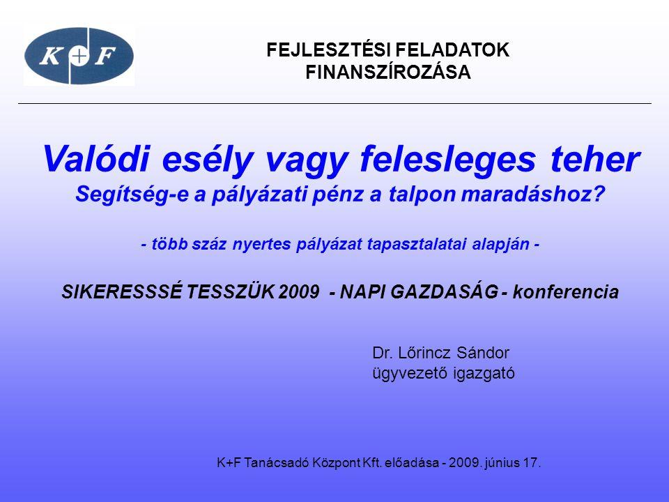 FEJLESZTÉSI FELADATOK FINANSZÍROZÁSA K+F Tanácsadó Központ Kft.