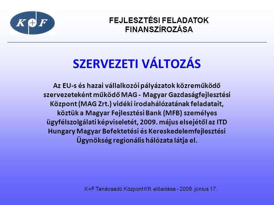 FEJLESZTÉSI FELADATOK FINANSZÍROZÁSA K+F Tanácsadó Központ Kft. előadása - 2009. június 17. SZERVEZETI VÁLTOZÁS Az EU-s és hazai vállalkozói pályázato