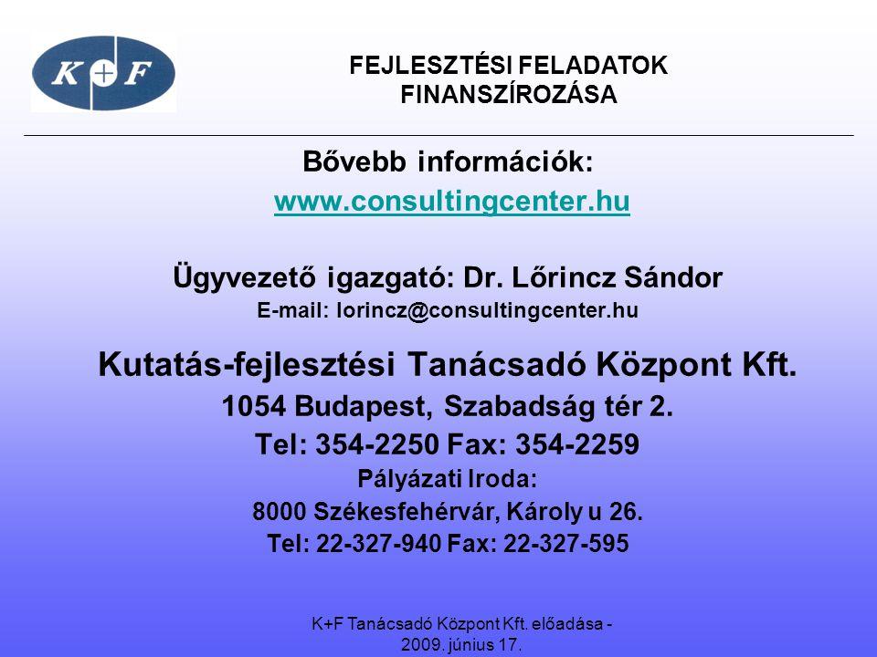 FEJLESZTÉSI FELADATOK FINANSZÍROZÁSA Bővebb információk: www.consultingcenter.hu Ügyvezető igazgató: Dr. Lőrincz Sándor E-mail: lorincz@consultingcent