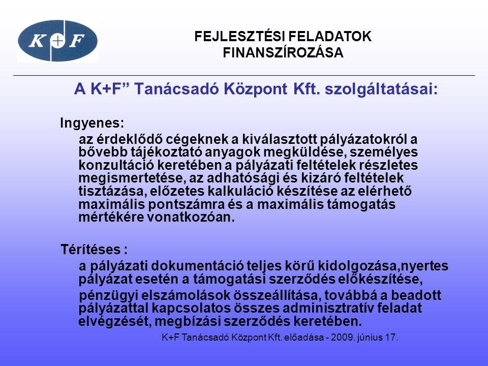 """FEJLESZTÉSI FELADATOK FINANSZÍROZÁSA A """"K+F Kft."""