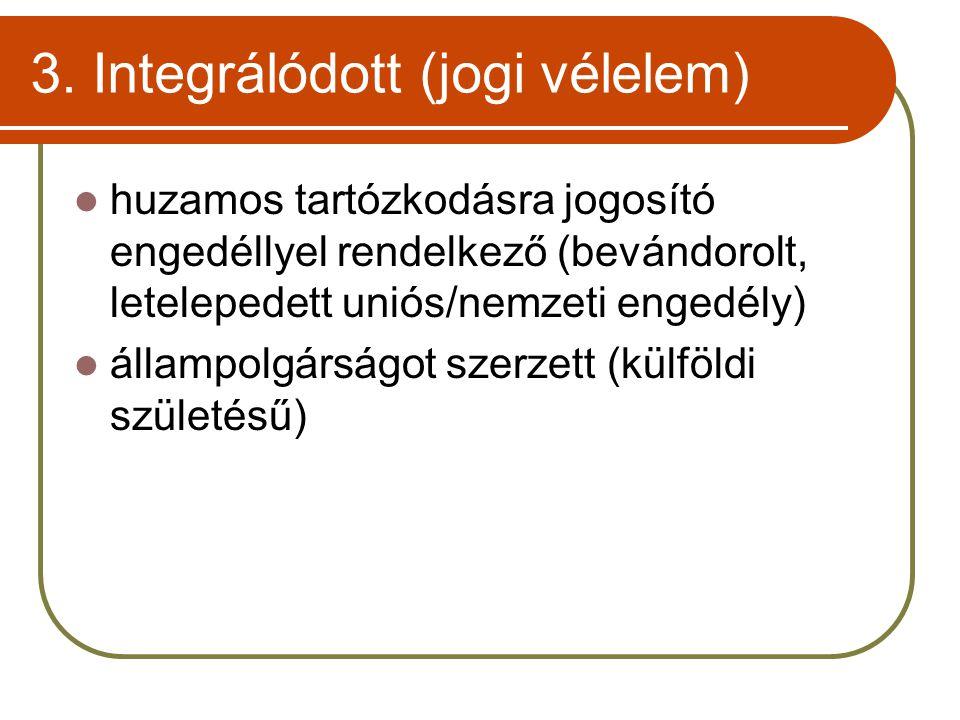 3. Integrálódott (jogi vélelem)  huzamos tartózkodásra jogosító engedéllyel rendelkező (bevándorolt, letelepedett uniós/nemzeti engedély)  állampolg