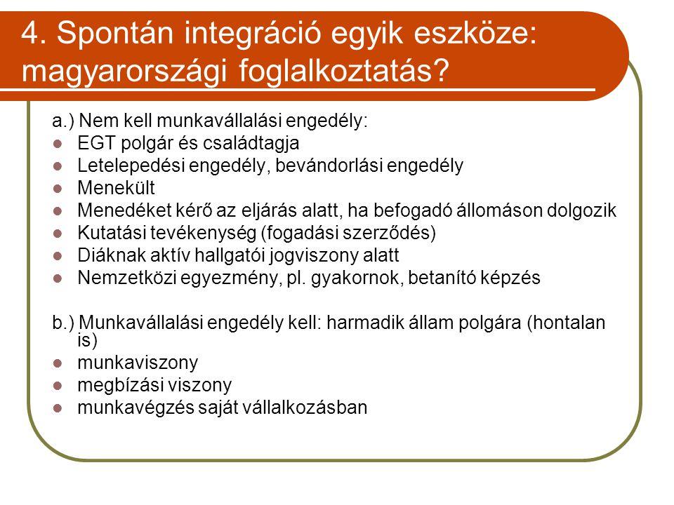 4. Spontán integráció egyik eszköze: magyarországi foglalkoztatás? a.) Nem kell munkavállalási engedély:  EGT polgár és családtagja  Letelepedési en