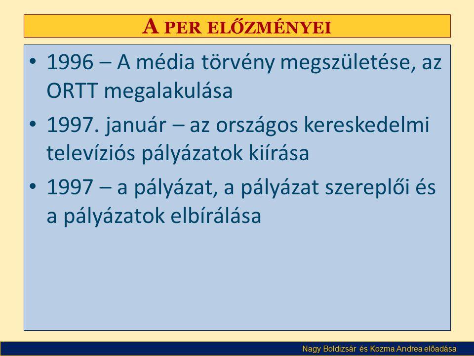 Nagy Boldizsár és Kozma Andrea előadása A PER ELŐZMÉNYEI • 1996 – A média törvény megszületése, az ORTT megalakulása • 1997.