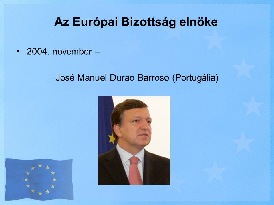 •2004. november – José Manuel Durao Barroso (Portugália) Az Európai Bizottság elnöke