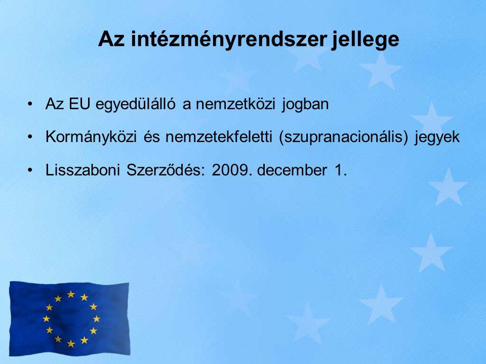 Az intézményrendszer jellege •Az EU egyedülálló a nemzetközi jogban •Kormányközi és nemzetekfeletti (szupranacionális) jegyek •Lisszaboni Szerződés: 2