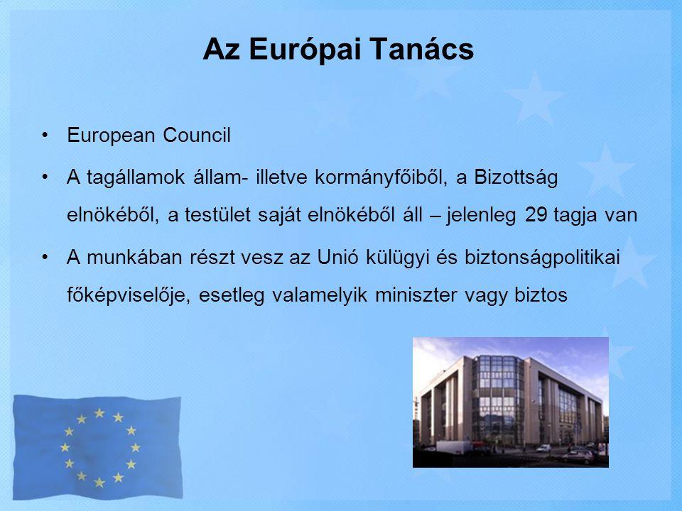 •European Council •A tagállamok állam- illetve kormányfőiből, a Bizottság elnökéből, a testület saját elnökéből áll – jelenleg 29 tagja van •A munkába