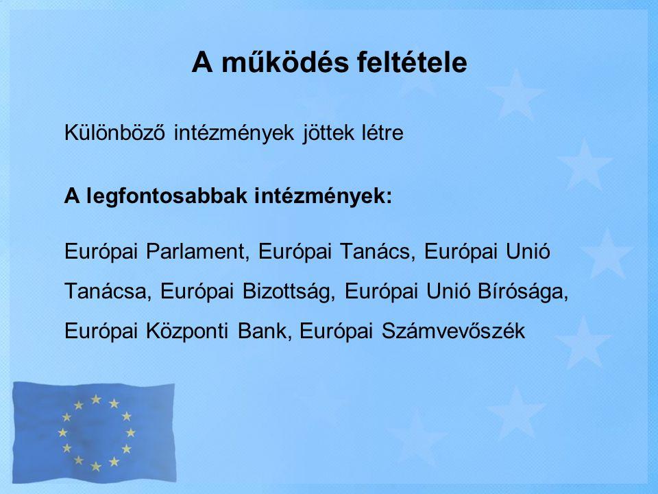 A működés feltétele Különböző intézmények jöttek létre A legfontosabbak intézmények: Európai Parlament, Európai Tanács, Európai Unió Tanácsa, Európai