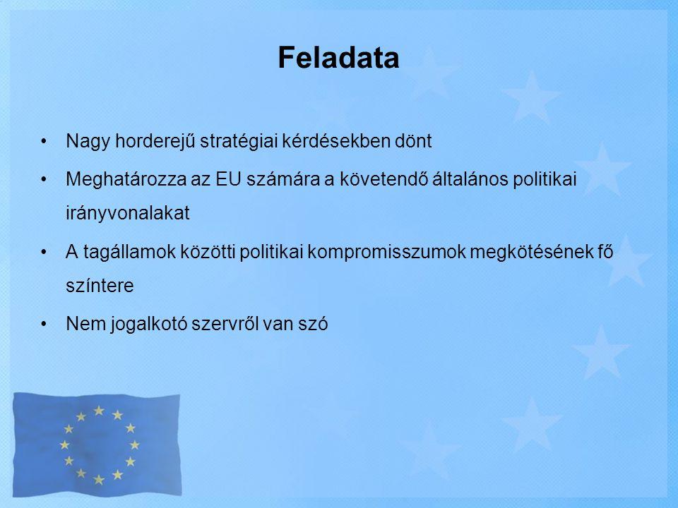 •Nagy horderejű stratégiai kérdésekben dönt •Meghatározza az EU számára a követendő általános politikai irányvonalakat •A tagállamok közötti politikai