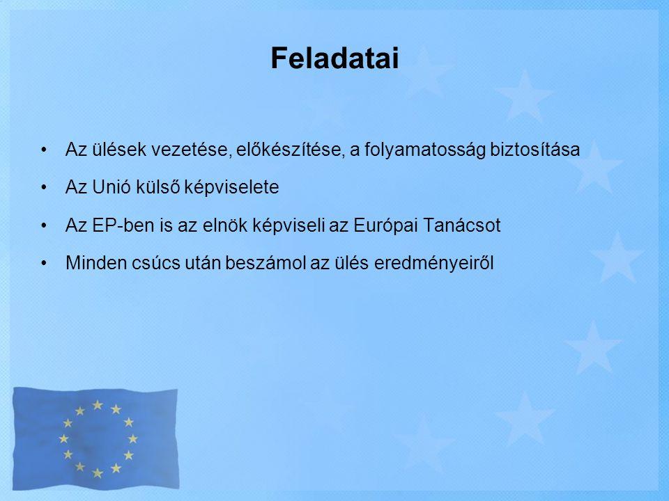 •Az ülések vezetése, előkészítése, a folyamatosság biztosítása •Az Unió külső képviselete •Az EP-ben is az elnök képviseli az Európai Tanácsot •Minden
