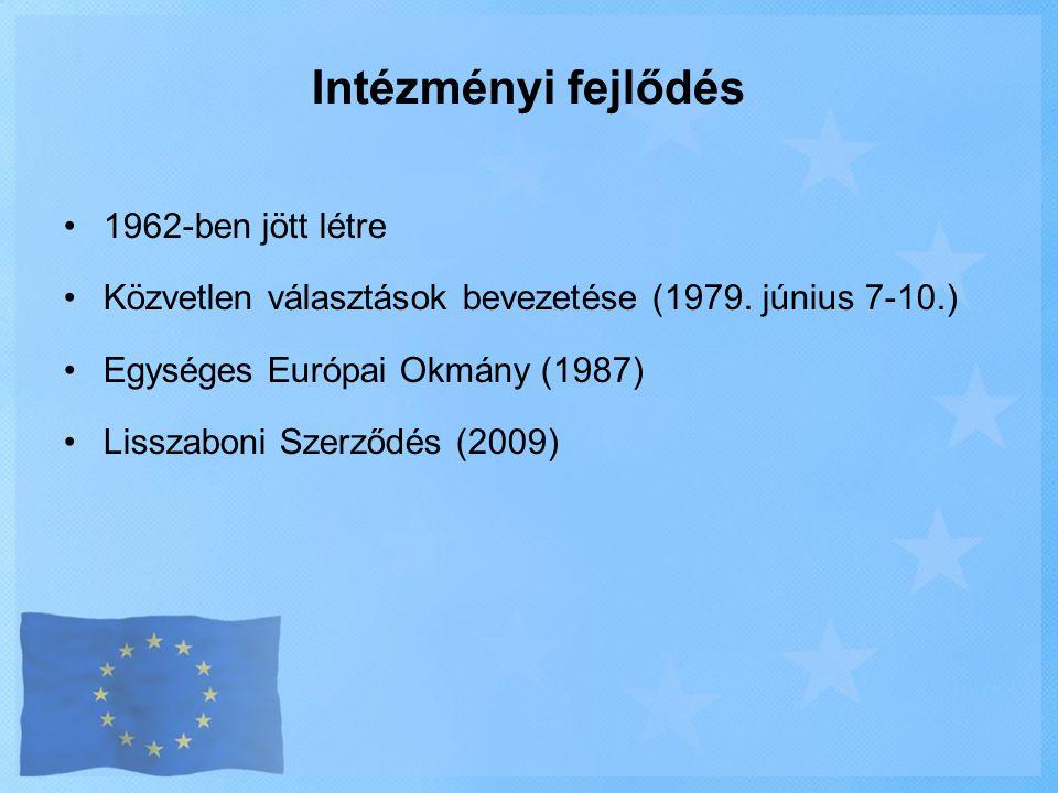 Intézményi fejlődés •1962-ben jött létre •Közvetlen választások bevezetése (1979. június 7-10.) •Egységes Európai Okmány (1987) •Lisszaboni Szerződés