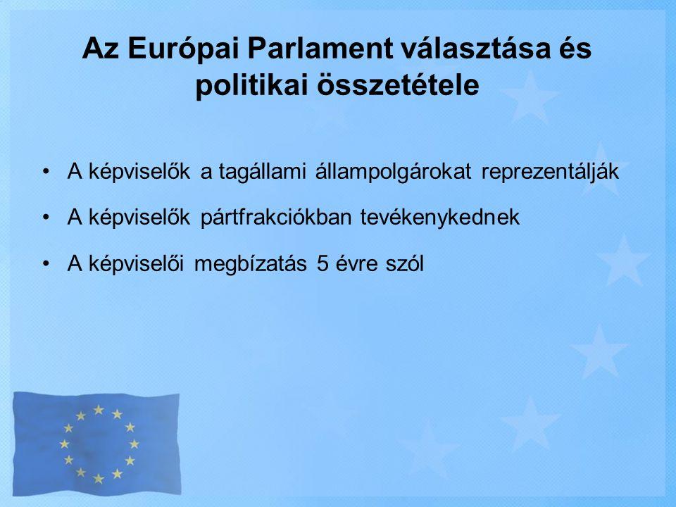 Az Európai Parlament választása és politikai összetétele •A képviselők a tagállami állampolgárokat reprezentálják •A képviselők pártfrakciókban tevéke