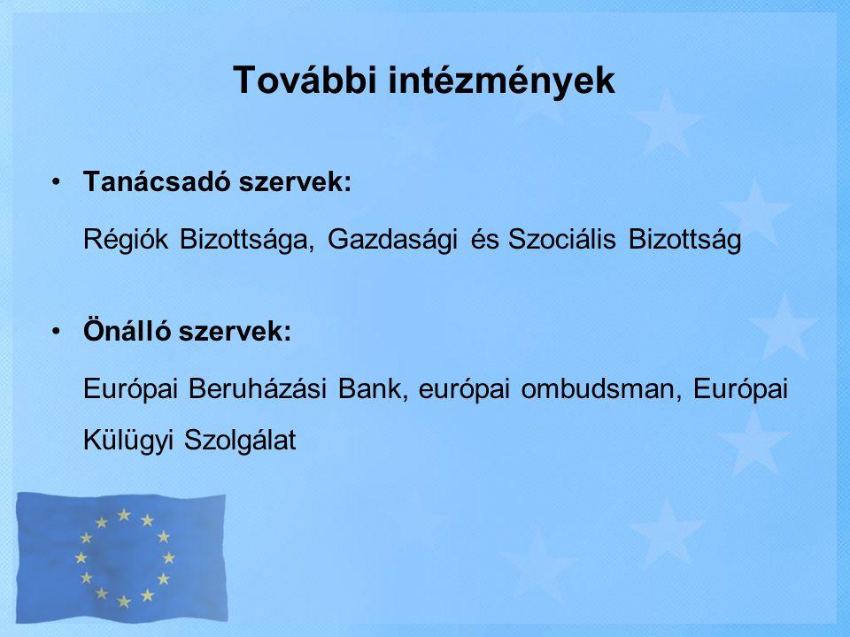 További intézmények •Tanácsadó szervek: Régiók Bizottsága, Gazdasági és Szociális Bizottság •Önálló szervek: Európai Beruházási Bank, európai ombudsma