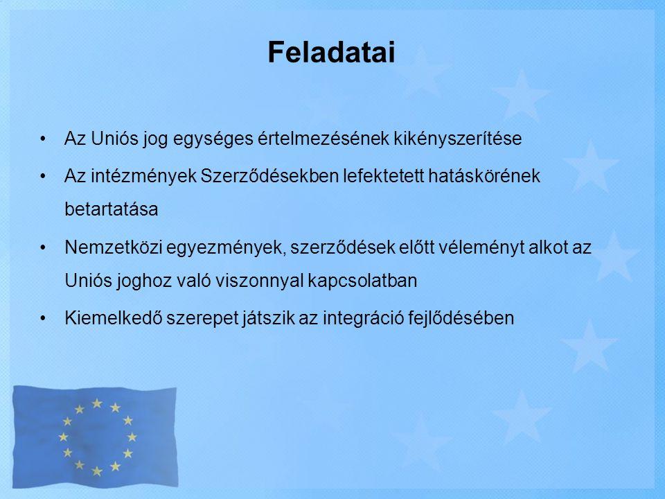 Feladatai •Az Uniós jog egységes értelmezésének kikényszerítése •Az intézmények Szerződésekben lefektetett hatáskörének betartatása •Nemzetközi egyezm