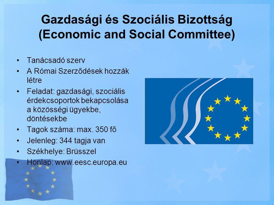 Gazdasági és Szociális Bizottság (Economic and Social Committee) •Tanácsadó szerv •A Római Szerződések hozzák létre •Feladat: gazdasági, szociális érd