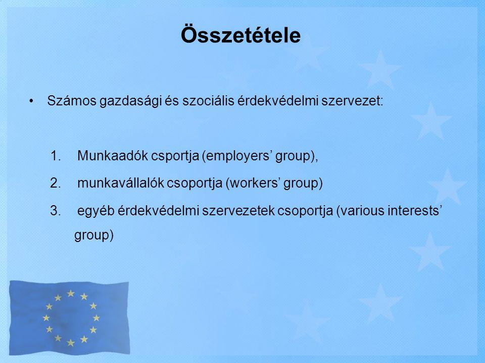 Összetétele •Számos gazdasági és szociális érdekvédelmi szervezet: 1.Munkaadók csportja (employers' group), 2.munkavállalók csoportja (workers' group)