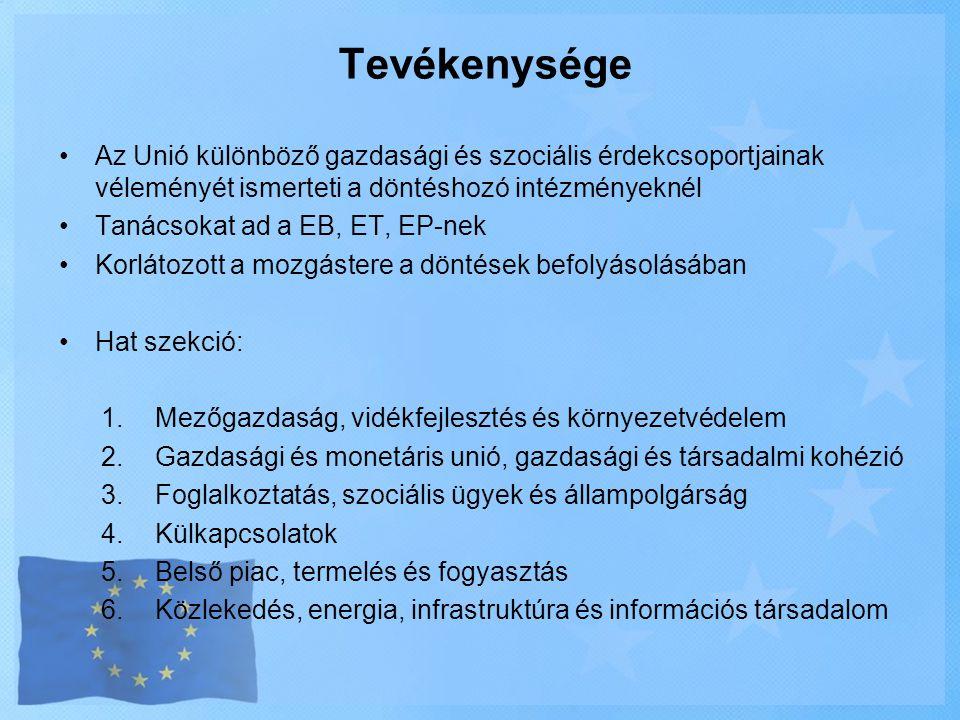 Tevékenysége •Az Unió különböző gazdasági és szociális érdekcsoportjainak véleményét ismerteti a döntéshozó intézményeknél •Tanácsokat ad a EB, ET, EP