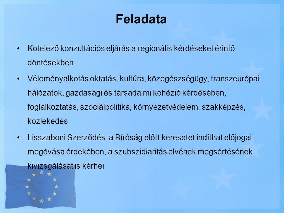 Feladata •Kötelező konzultációs eljárás a regionális kérdéseket érintő döntésekben •Véleményalkotás oktatás, kultúra, közegészségügy, transzeurópai há