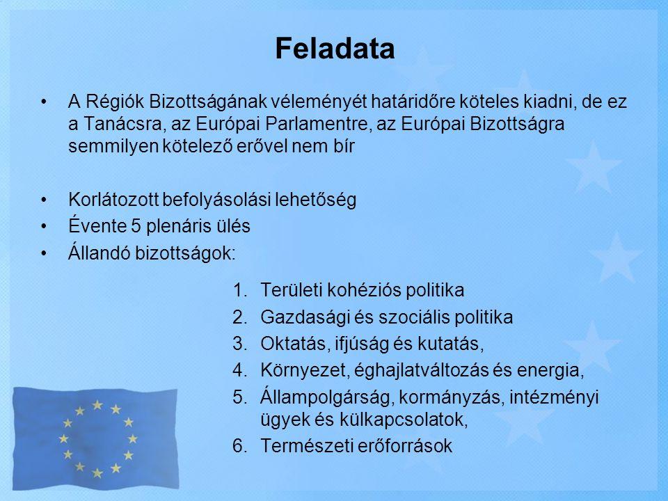 Feladata •A Régiók Bizottságának véleményét határidőre köteles kiadni, de ez a Tanácsra, az Európai Parlamentre, az Európai Bizottságra semmilyen köte